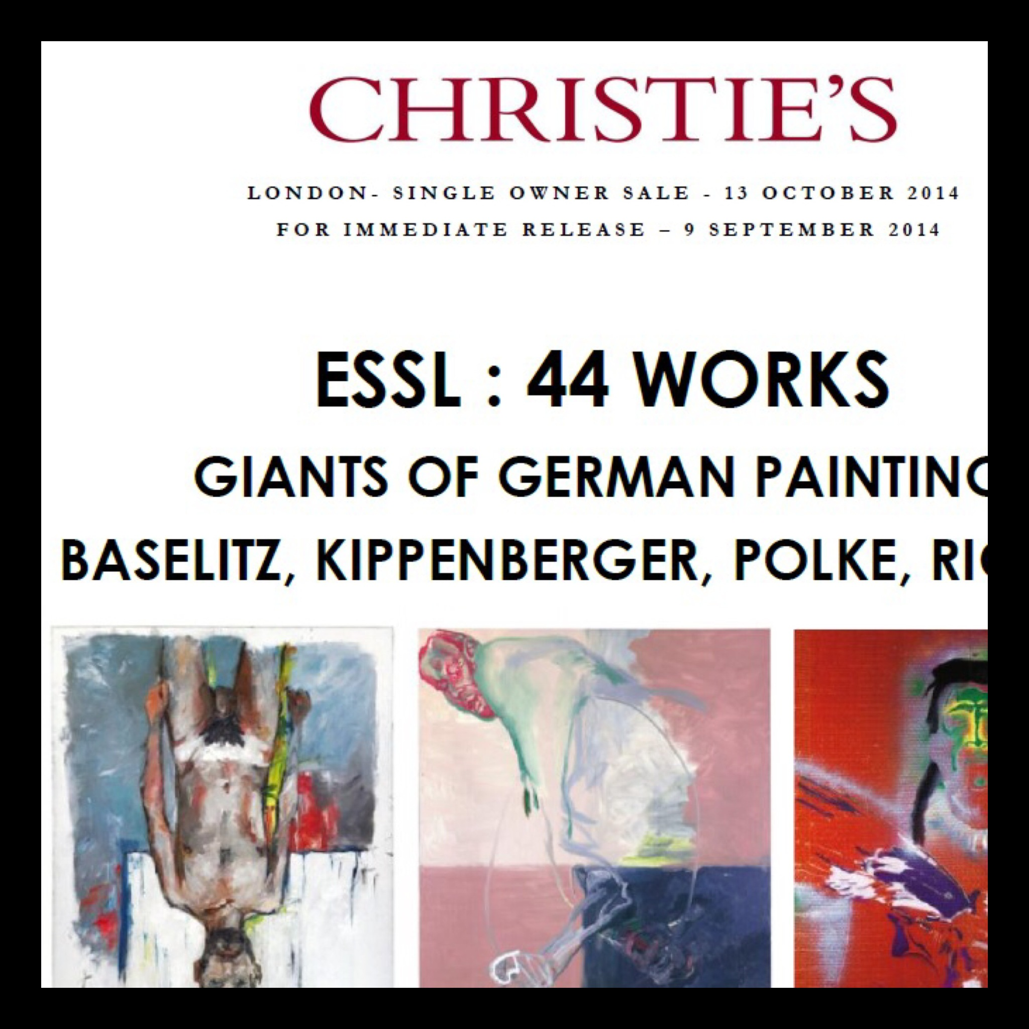 Christie's |44 works | The Essl Collection| stand-alone evening auction | London | Monday, 13 October 2014