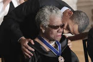 Maya Angelou receiving the Medal of Freedom from President Barack Obama - courtesy of post-gazette.com